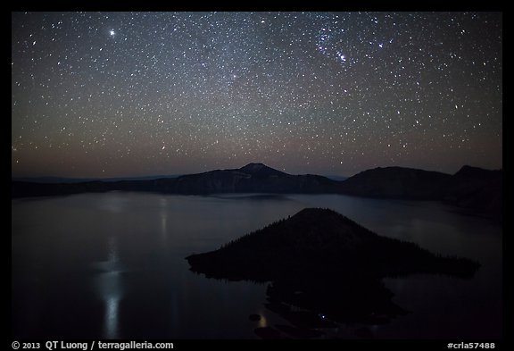 Stars and reflections over lake. Crater Lake National Park (color)