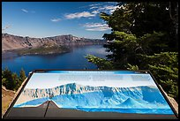 Interpretive sign, Wizard Island and Llao peak. Crater Lake National Park, Oregon, USA.