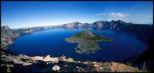 Crater Lake and Wizard Island. Crater Lake National Park, Oregon, USA. (color)
