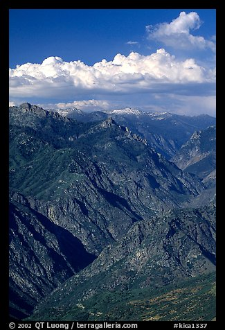 Kings Canyon viewed from  West, late afternoon. Kings Canyon National Park, California, USA.