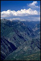 Kings Canyon viewed from  West, late afternoon. Kings Canyon National Park, California, USA. (color)