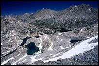 Rae Lakes basin from  high pass. Kings Canyon  National Park, California, USA.