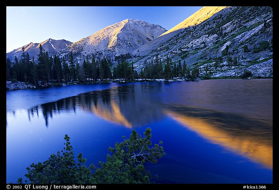 Reflections on lake at sunset. Kings Canyon National Park, California, USA.