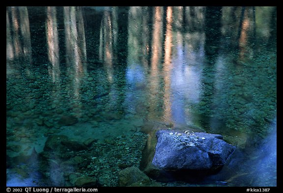 Reflexions in Cedar Grove. Kings Canyon National Park, California, USA.