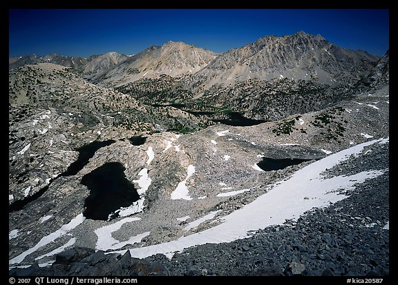 Rae Lakes basin from high pass. Kings Canyon National Park (color)