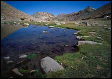 Pond at Sawmill Pass, morning. Kings Canyon National Park, California, USA. (color)