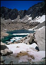 Alpine lake in early summer. Kings Canyon National Park, California, USA. (color)
