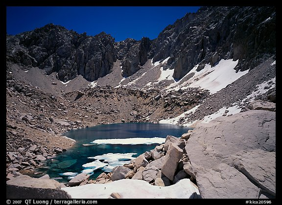 Alpine lake in early summer. Kings Canyon National Park (color)