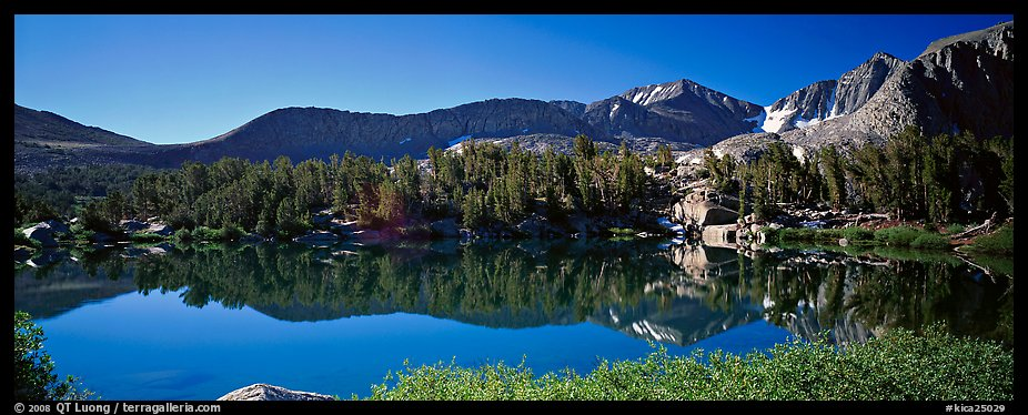 Clear lake with mountain range reflected. Kings Canyon National Park (color)
