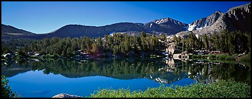 Clear lake with mountain range reflected. Kings Canyon  National Park (Panoramic color)