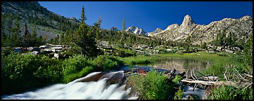 Clear cascading stream and peak. Kings Canyon National Park (Panoramic color)