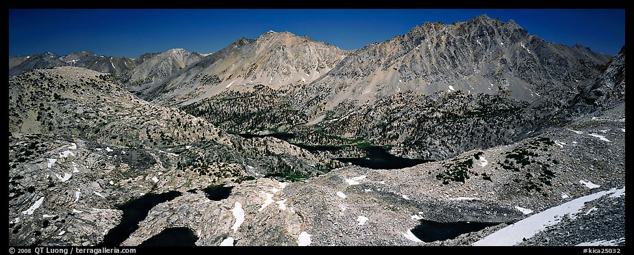 Mineral mountain landscape dotted with lakes. Kings Canyon National Park (color)