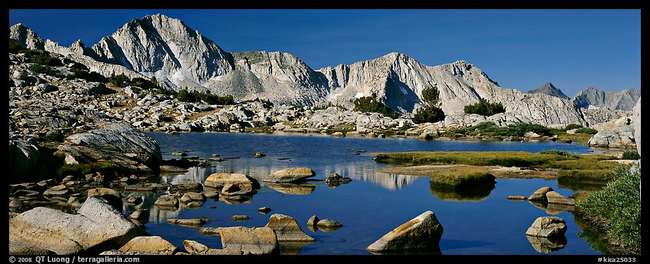 High Sierra peaks reflected in blue alpine lake. Kings Canyon  National Park (color)