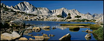 High Sierra peaks reflected in blue alpine lake. Kings Canyon  National Park (Panoramic color)