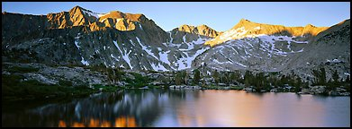 Last last over peaks and reflections. Kings Canyon  National Park (Panoramic color)
