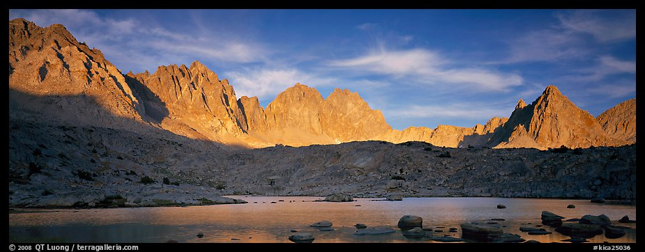 Palissades at sunset, Dusy Basin. Kings Canyon National Park (color)