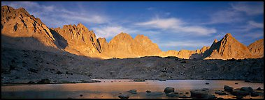 Palissades at sunset, Dusy Basin. Kings Canyon National Park (Panoramic color)