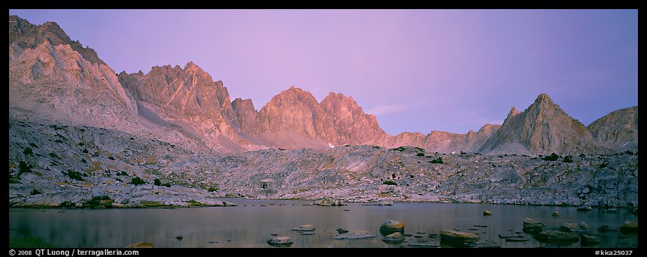 Pink light on High Sierra and lake at twilight. Kings Canyon National Park (color)