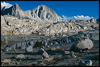 Glacial erratic boulders and mountains, Dusy Basin. Kings Canyon National Park ( color)