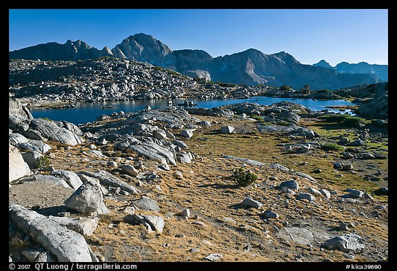 Alpine meadow, lake, and mountains, Dusy Basin. Kings Canyon National Park, California, USA.
