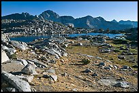 Alpine meadow, lake, and mountains, Dusy Basin. Kings Canyon National Park ( color)