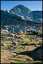 Alpine meadow, lake, and Mt Giraud, Dusy Basin. Kings Canyon National Park ( color)