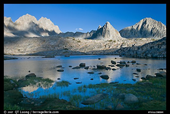 North Palissade, Isocele Peak and Mt Giraud reflected in lake, Dusy Basin. Kings Canyon National Park (color)