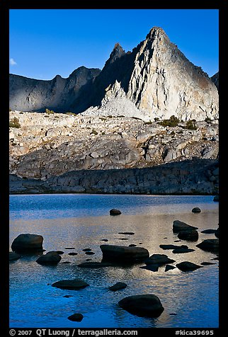 Isocele Peak reflected in lake, late afternoon, Dusy Basin. Kings Canyon National Park (color)