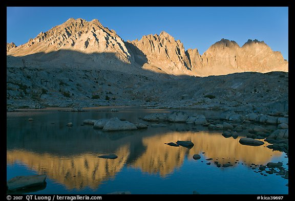 Agassiz, Winchell, Thunderbolt, Starlight, North Palissade reflected at sunset, Dusy Basin. Kings Canyon National Park (color)