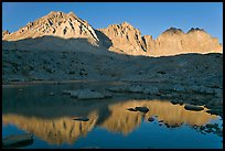 Agassiz, Winchell, Thunderbolt, Starlight, North Palissade reflected at sunset, Dusy Basin. Kings Canyon National Park, California, USA. (color)