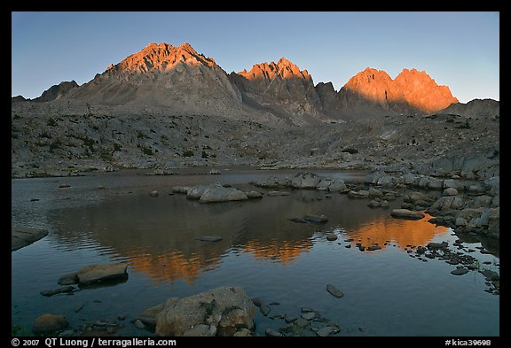Palissades reflected in lake at sunset, Dusy Basin. Kings Canyon National Park (color)