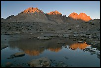 Palissades reflected in lake at sunset, Dusy Basin. Kings Canyon National Park, California, USA.