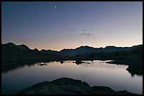 Lake at sunset, Dusy Basin. Kings Canyon National Park, California, USA.