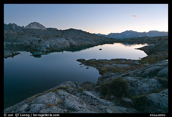 Lake and mountains at dusk, Dusy Basin. Kings Canyon National Park (color)