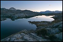 Lake and mountains at dusk, Dusy Basin. Kings Canyon National Park, California, USA.