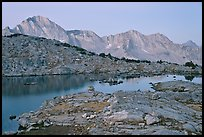 Lake and mountains at dawn, Dusy Basin. Kings Canyon National Park, California, USA.