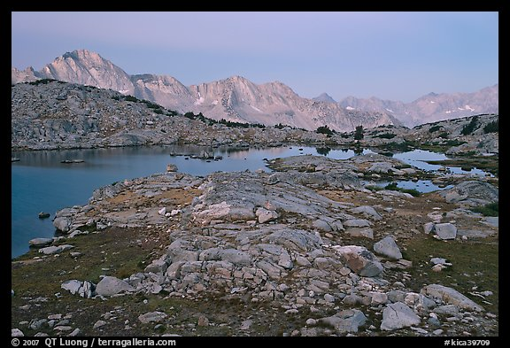 Alpine landscape, lakes and mountains at dawn, Dusy Basin. Kings Canyon National Park (color)