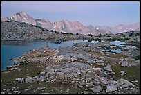 Alpine landscape, lakes and mountains at dawn, Dusy Basin. Kings Canyon National Park, California, USA.