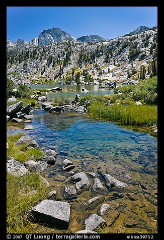 Stream, lake, and Mt Giraud, Lower Dusy Basin. Kings Canyon National Park (color)