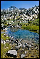 Stream, lake, and Mt Giraud, Lower Dusy Basin. Kings Canyon National Park, California, USA.