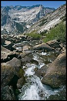 Stream plunges towards Le Conte Canyon. Kings Canyon National Park ( color)