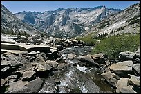 Stream plunging towards Le Conte Canyon. Kings Canyon National Park, California, USA.