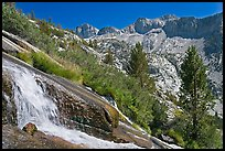 Waterfall, and mountains, Le Conte Canyon. Kings Canyon National Park, California, USA.