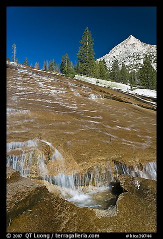 Water flowing over granite slab, Le Conte Canyon. Kings Canyon National Park (color)