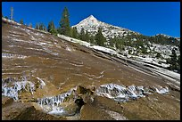 Creek flowing over granite slab, Le Conte Canyon. Kings Canyon National Park, California, USA. (color)