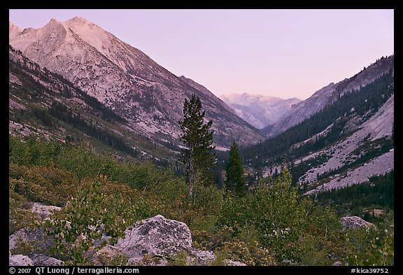 Looking south in Le Conte Canyon at dusk. Kings Canyon National Park (color)
