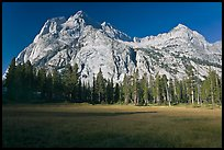 Langille Peak from Big Pete Meadow, morning, Le Conte Canyon. Kings Canyon National Park, California, USA.