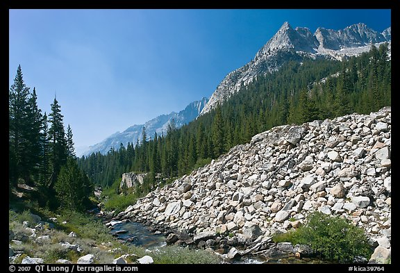 Scree slope, river, and The Citadel, Le Conte Canyon. Kings Canyon National Park (color)