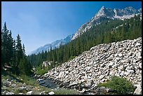 Scree slope, river, and The Citadel, Le Conte Canyon. Kings Canyon National Park, California, USA.