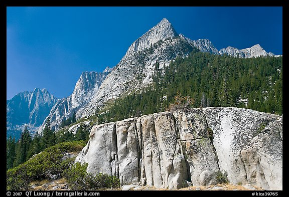Granite block and peak, Le Conte Canyon. Kings Canyon National Park (color)